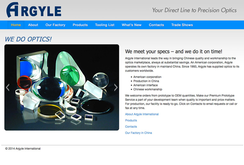 Screenshot of Argyle Optics Homepage Web Design by Inforest Communications
