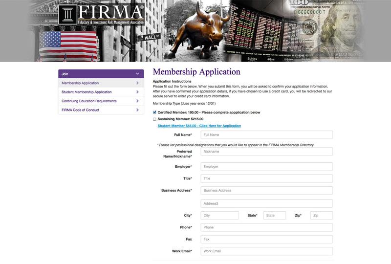 Screenshot of Firma Membership application