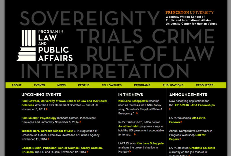 Screenshot of Law and Public Affairs at Princeton University Homepage Web Design by Inforest Communications