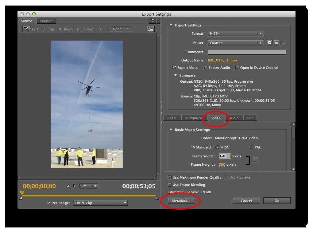 Screenshot of Helicopter Adobe Media Encoder Web Video Settings