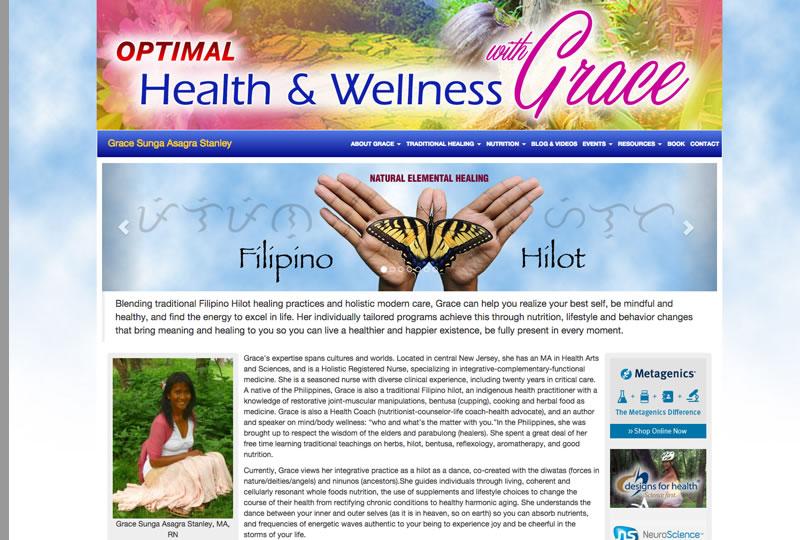 Screenshot of the Grace Asagra website by Inforest Communications