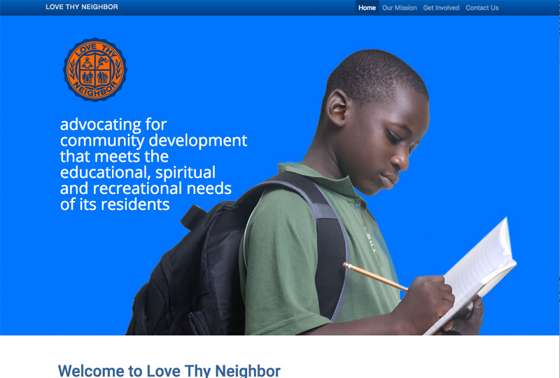 Screenshot of the Love Thy Neighbor website by Inforest Communications