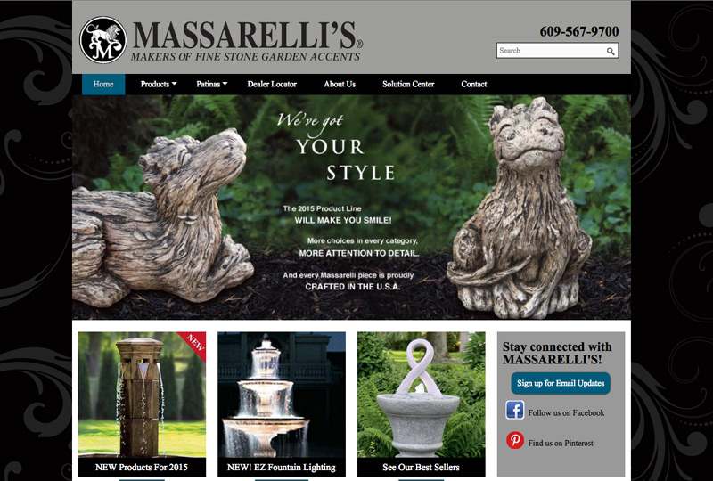 Screenshot of Massarellis Homepage Web Design by Inforest Communications
