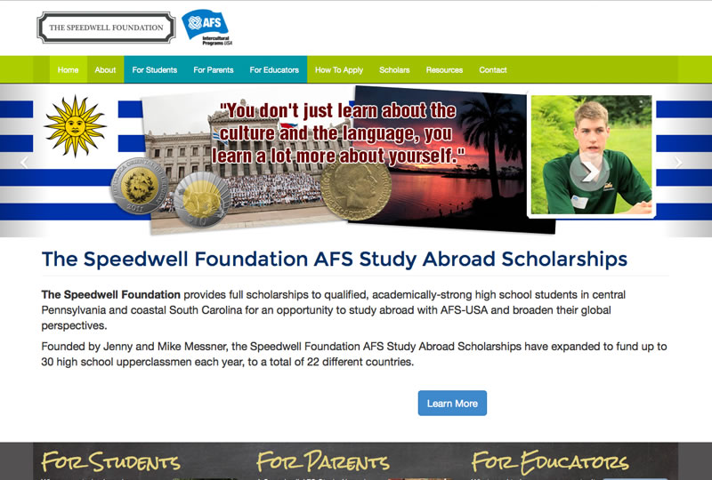 Screenshot of the Speedwell AFS website by Inforest Communications