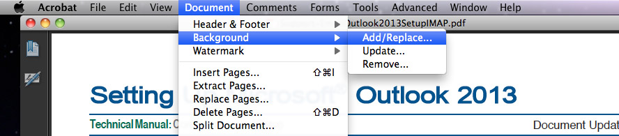 Go To Document > Background > Add/Replace