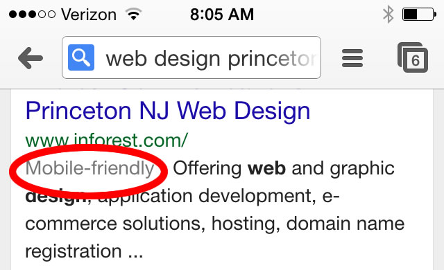 Mobile Friendly search results for Princeton Web Design
