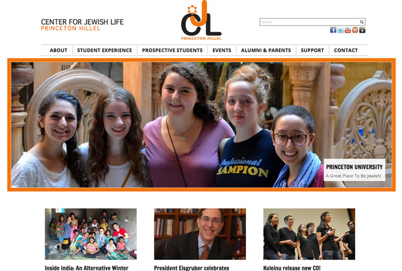 Screenshot of the Center For Jewish Life Princeton website by Inforest Communications