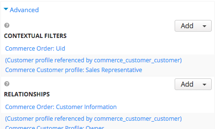 "Under the ""Advanced"" section of the view, I've added a Relationship to my custom customer profile (Customer profile referenced by commerce_customer_customer) and an additional Contextual Filter (Commerce Customer profile: Sales Representative)"
