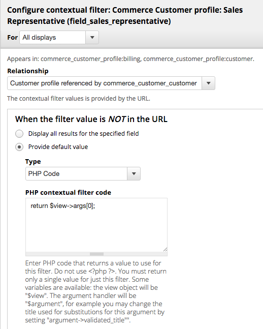 Here we add aa default contextual filter value for our second filter to match the first argument passed to the view. There will not be a second argument.