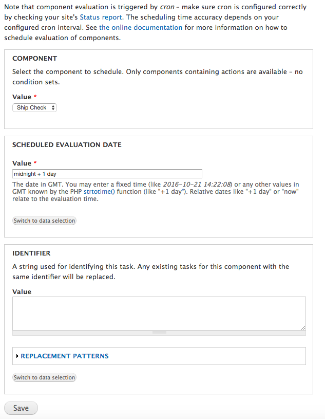 "By adding a ""Schedule component evaluation"" action the same Rules Component can reschedule itself to run the next day."
