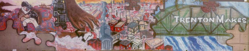 A section of one of the first murals created in Trenton, NJ by Leon Rainbow Circa 2001