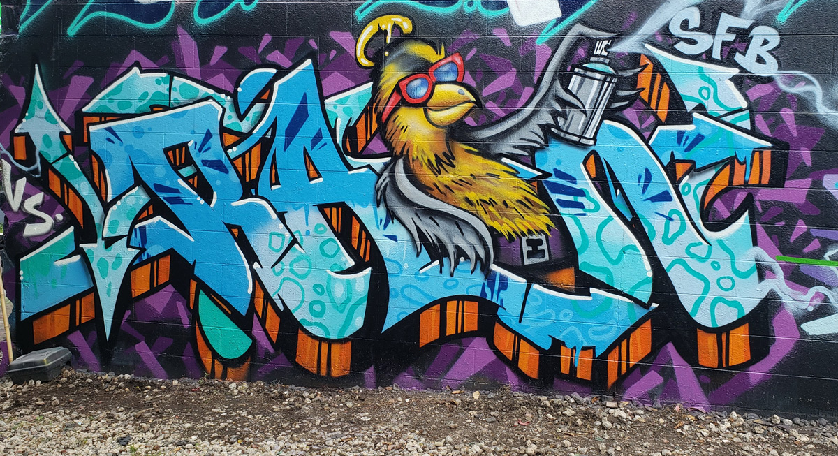 Recent graffiti piece painted during Jersey Fresh Jam 2018 at TerraCycle in Trenton, NJ