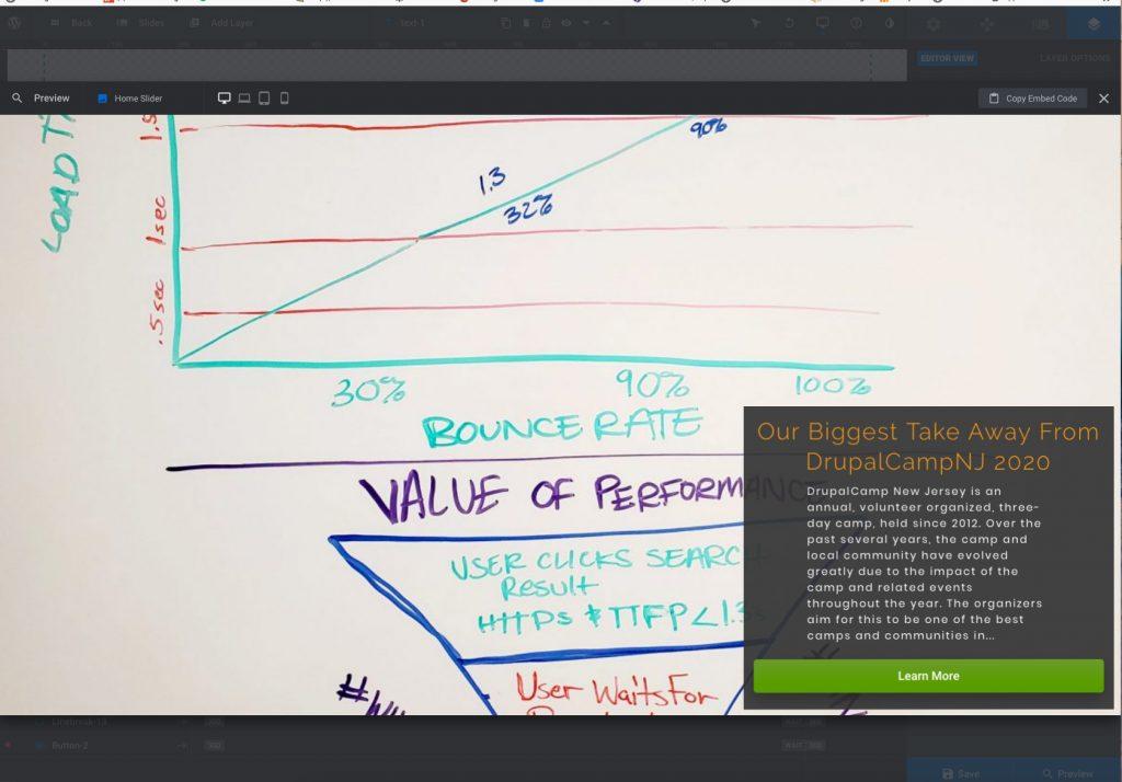 Screen shot of finished slider