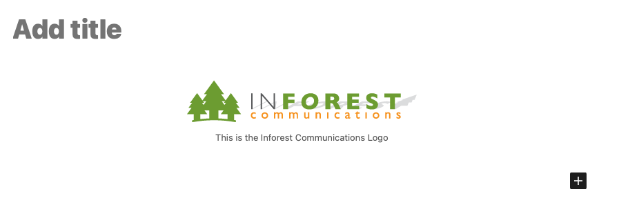 A screenshot of the WordPress editor showing the Inforest Logo image placed by default